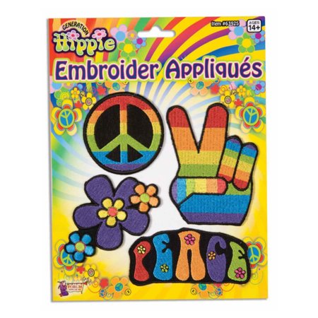 4 Embroidered Appliques Costume Accessory 70s Hippie Flower Child Patches
