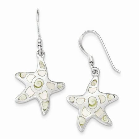 Sterling Silver MOP and Shiva Eye Star Dangle Earrings (34.5 x 18 MM) (Mop Dangle)
