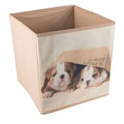 Cute Puppies in Bag Collapsible Storage Organizer by | Cube Folding Storage Organizer for Animal Themed Rooms | Perfect Size Storage Cube for Books, Shoes, Games