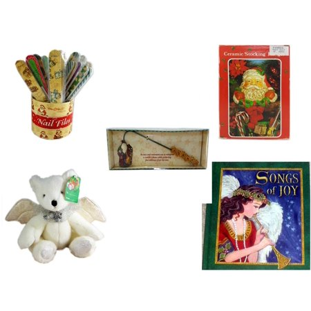 Christmas Fun Gift Bundle [5 Piece] - 20   Themed Nail Files (Assrt) - Vintage Designed Stocking Hanger Santa - Debbie Mumm Button Santa Candle Snuffer - Angel Bear (Song Santa)