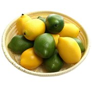 Gresorth 12pcs Yellow & Green Artificial Lifelike Simulation Lemon Fake Fruit Home Kitchen Cabinet Decoration