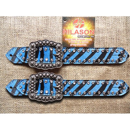 PSCN140F- HILASON WESTERN TURQUOISE ZEBRA HAIR ON LEATHER SPUR STRAPS W/ BUCKLE
