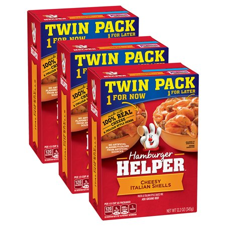 (3 Pack) Hamburger Helper Pasta & Italian-Style Sauce Mix Cheesy Shells 12.2 oz Hamburger Helper Pasta And Italian-Style Sauce Mix Cheesy Italian Shells Twin Pack 2 - 12.2 Oz Box. Americas Favorite Hamburger Helper Is Made With 100% Real Cheese And Italian-Style Herbs For The Classic Taste You Love Most. Our Products Are Made With No Artificial Flavors Or Colors From Artificial Sources.