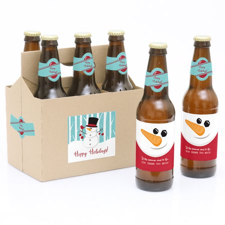 Let It Snow - Snowman - Holiday & Christmas Party Decorations for Women and Men - 6 Beer Bottle Label Stickers and 1](Snow Themed Decorations)