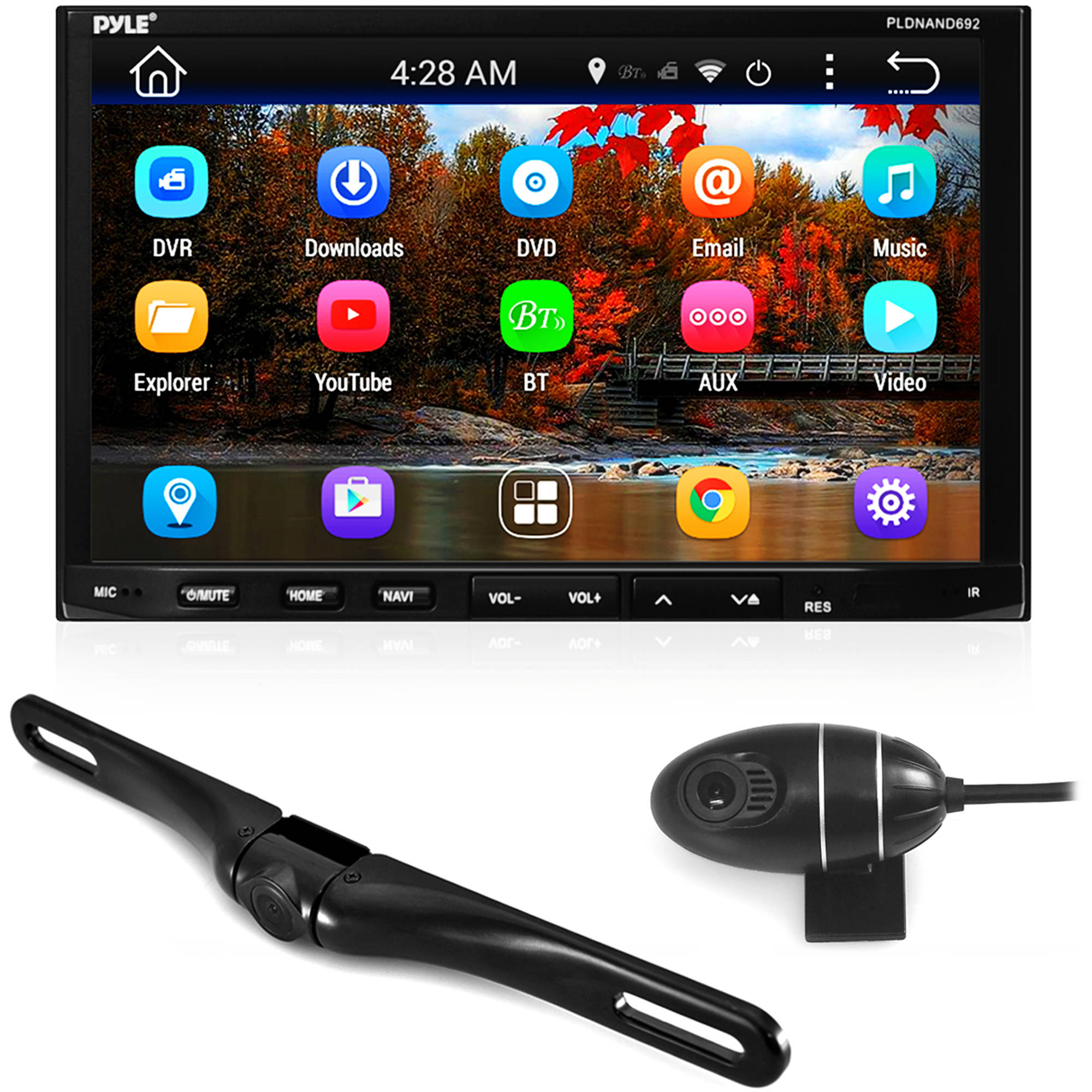 Pyle GPS Android Car Stereo Double Din DVR Dash Cam Backup Camera Kit- DVD, Navigation, Hands-Free Bluetooth... by Pyle