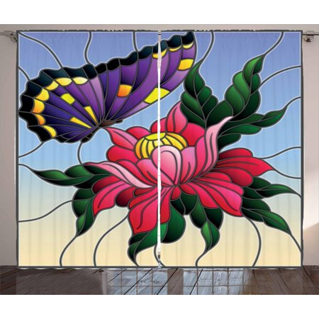 Aster Curtains 2 Panels Set, Stained Glass Pattern with Butterfly and a Flower Mosaic Garden Art Illustration, Window Drapes for Living Room Bedroom, 108W X 108L Inches, Multicolor, by Ambesonne ()