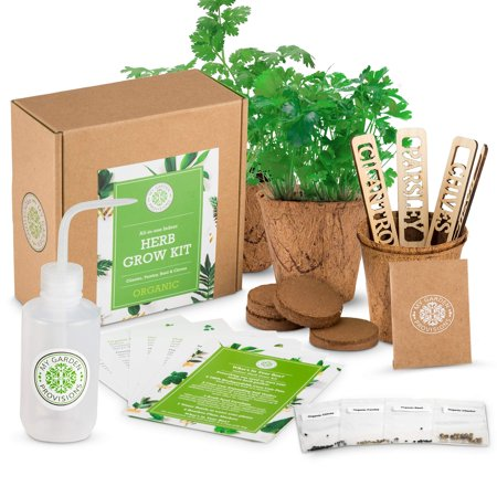 Indoor Herb Garden Grow Kit: Indoor Garden Kit Includes 4 Organic Herb Seeds, Basil, Parsley, Chives and Cilantro, Organic Soil Wafers, Planting Pots, and Plant Markers