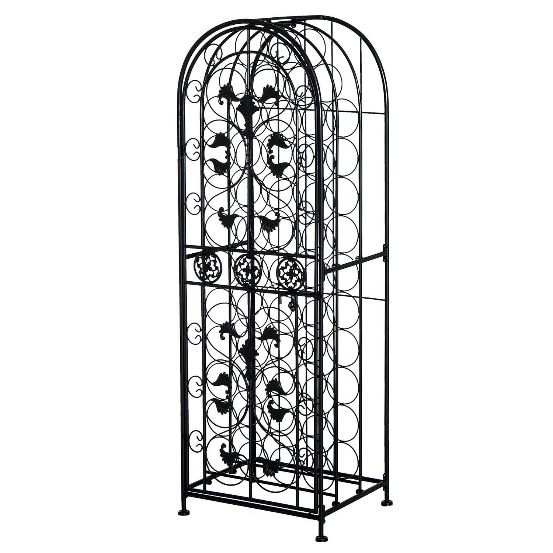 HOMCOM 45 Bottle Free-Standing Decorative Wrought Iron Wine Rack Jail by Aosom LLC