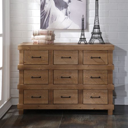 - Acme Furniture Adams Antique Oak Dresser with a Nine Drawers