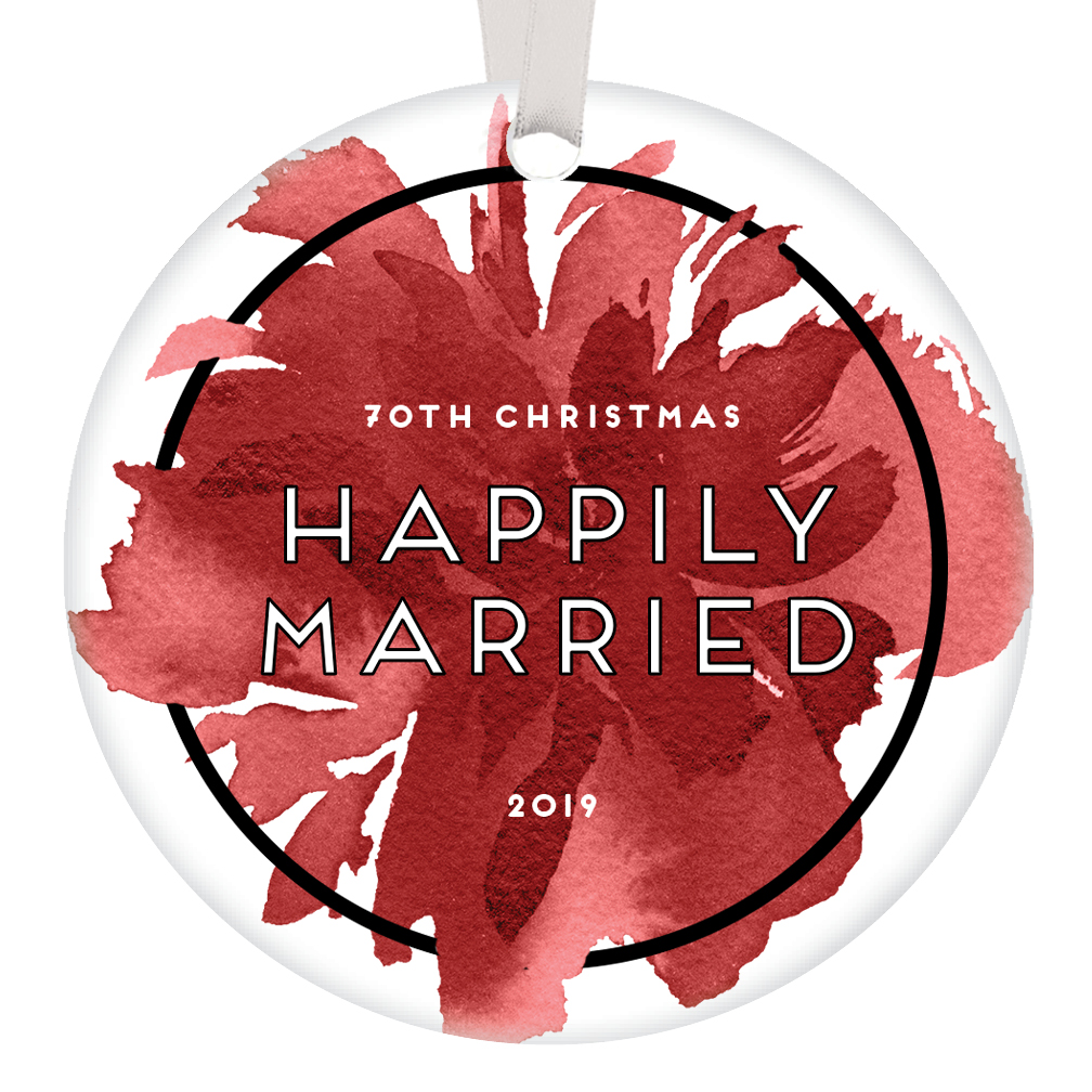 Wedding Anniversary Gifts By Year 3: 70th Christmas Happily Married Ornament 2019 Marriage 70
