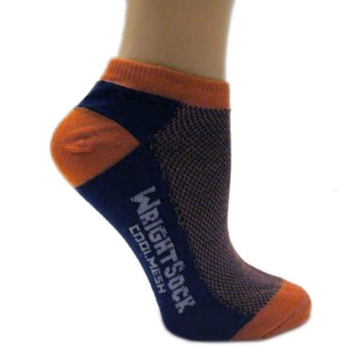 504 Double Layer Coolmesh Low Quarter Sock, Navy / Orange, Medium