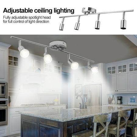 4 Light Track Lighting, Simple Multi-head Spotlight (without Light Bulb) 110V 4 heads Flexible Track Lighting Head