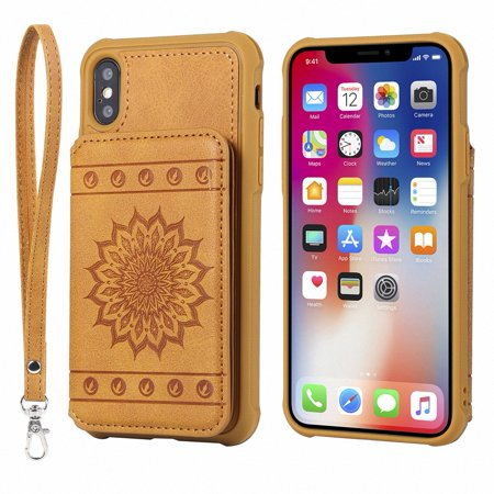 timeless design beb49 aff8b iPhone Xs Max Case, Allytech Embossed Sunflower Series, [Removable Wrist  Strap] Premium PU Flip Wallet Case with Card Holder Cover for iPhone Xs Max  ...