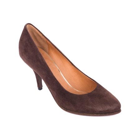 (Givenchy Brown Suede Zipper Trimmed Mid Pumps)