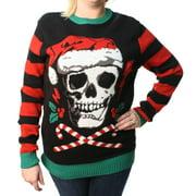 Ugly Christmas Sweater Plus Size Women's Skull Santa Hat Light Up Pullover Sweatshirt