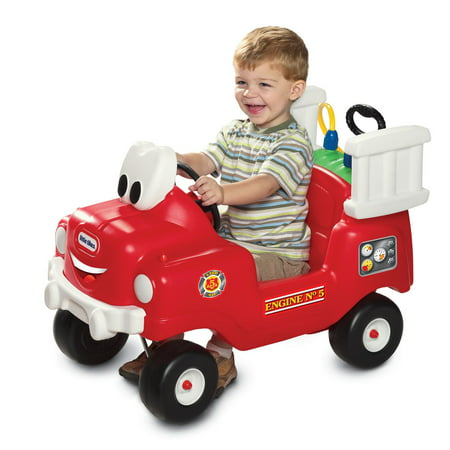 Little Tikes Spray & Rescue Fire Truck Foot to Floor Ride On - 1 Year Old Outdoor Toys