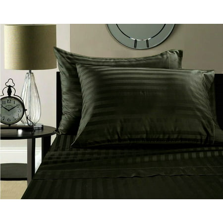 "600 TC 100% Nature Grown Cotton Stripe Grey, Twin (36""x 72"") Sleeper Sofa Sheet Set with 10 Inch Drop Length"