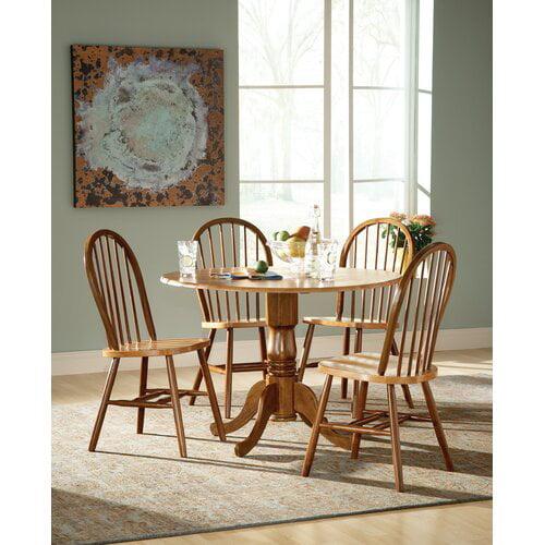 August Grove Spradling Round Top 5 Piece Drop Leaf Solid Wood Dining Set