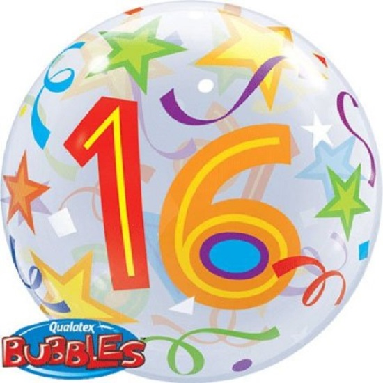 "22"" Bubbles 16 Brilliant Stars Birthday Stretchy Plastic Balloon Party"