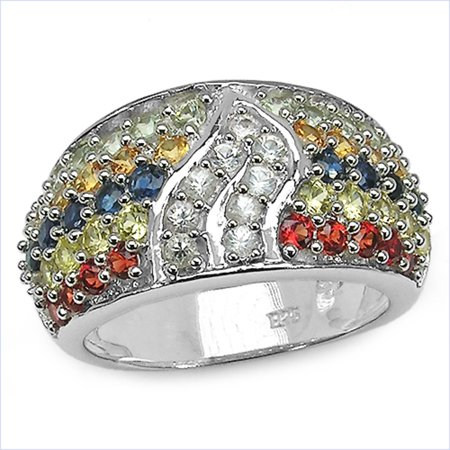 Genuine Round Yellow Sapphire, Red Sapphire and Orange Sapphire Ring in Sterling Silver - Size 7.00