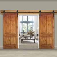 Zeny 12Ft Double Door Sliding Barn Door Hardware Kit - Smoothly and Quietly -Easy to Install - Double Track Kit System - Heavy Duty