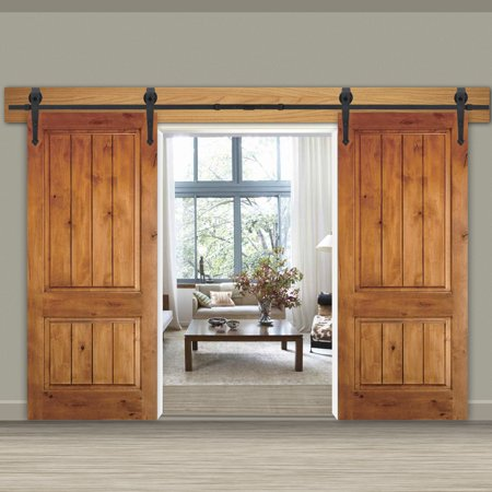 Zeny 12Ft Double Door Sliding Barn Door Hardware Kit - Smoothly and Quietly -Easy to Install - Double Track Kit System - Heavy Duty Pottery Barn Daily System