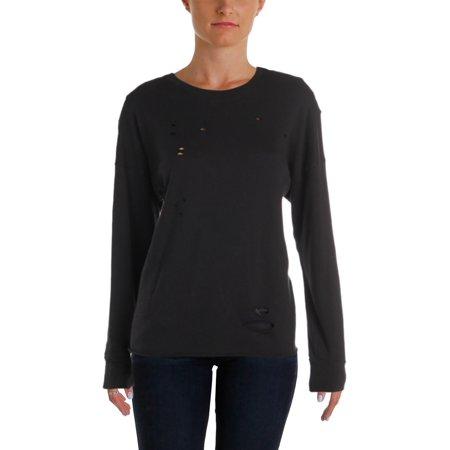 Michelle by Comune Womens Destroyed Cold Shoulder Blouse Black S