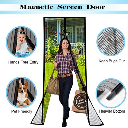 Magnetic Screen Door with Durable Fiberglass Mesh Curtain and Full Frame Hook & Loop Fits Door Size up to 36