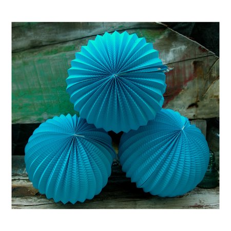 Luna Bazaar Turquoise Blue Accordion Paper Lantern for $<!---->
