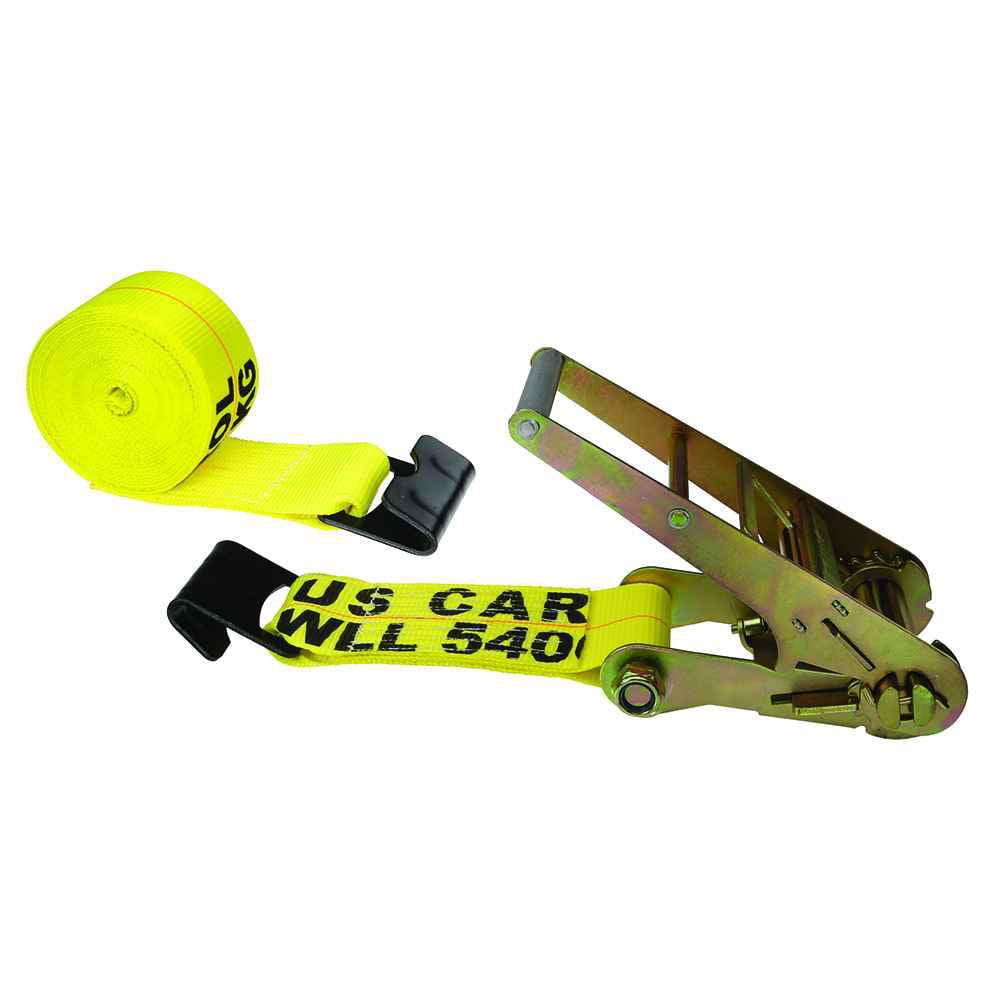 "4"" x 20' Yellow Ratchet Strap w/ Flat Hooks"
