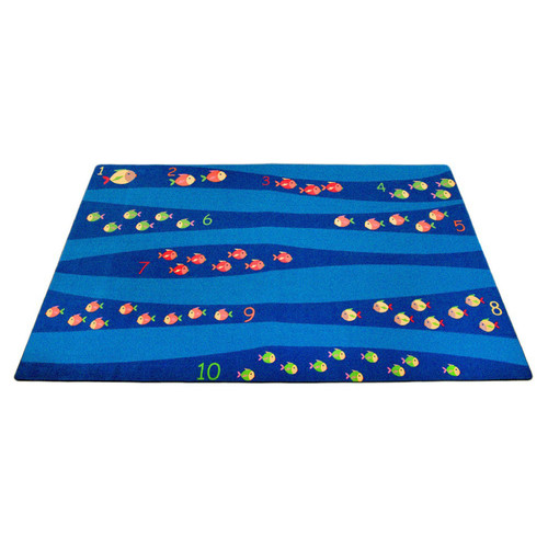Kid Carpet Classroom Blue School of Fish Area Rug