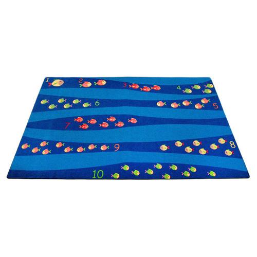 Kid Carpet Classroom Blue School of Fish Area Rug