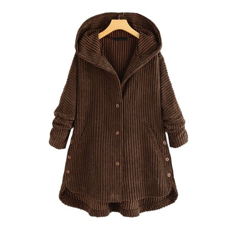 Women's Plus Size Winter Hoodies Thick Warm Corduroy Coat Loose Flared Jackets
