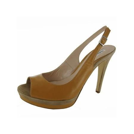 Charles David Womens 'Shelby' Slingback Pumps Shoe, Camel Leather, US 9.5