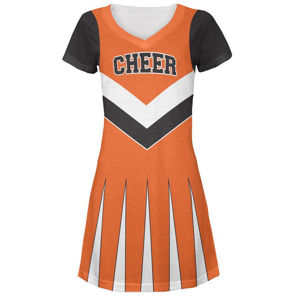 Cheerleader Costume Orange & Black All Over Juniors V-Neck Dress