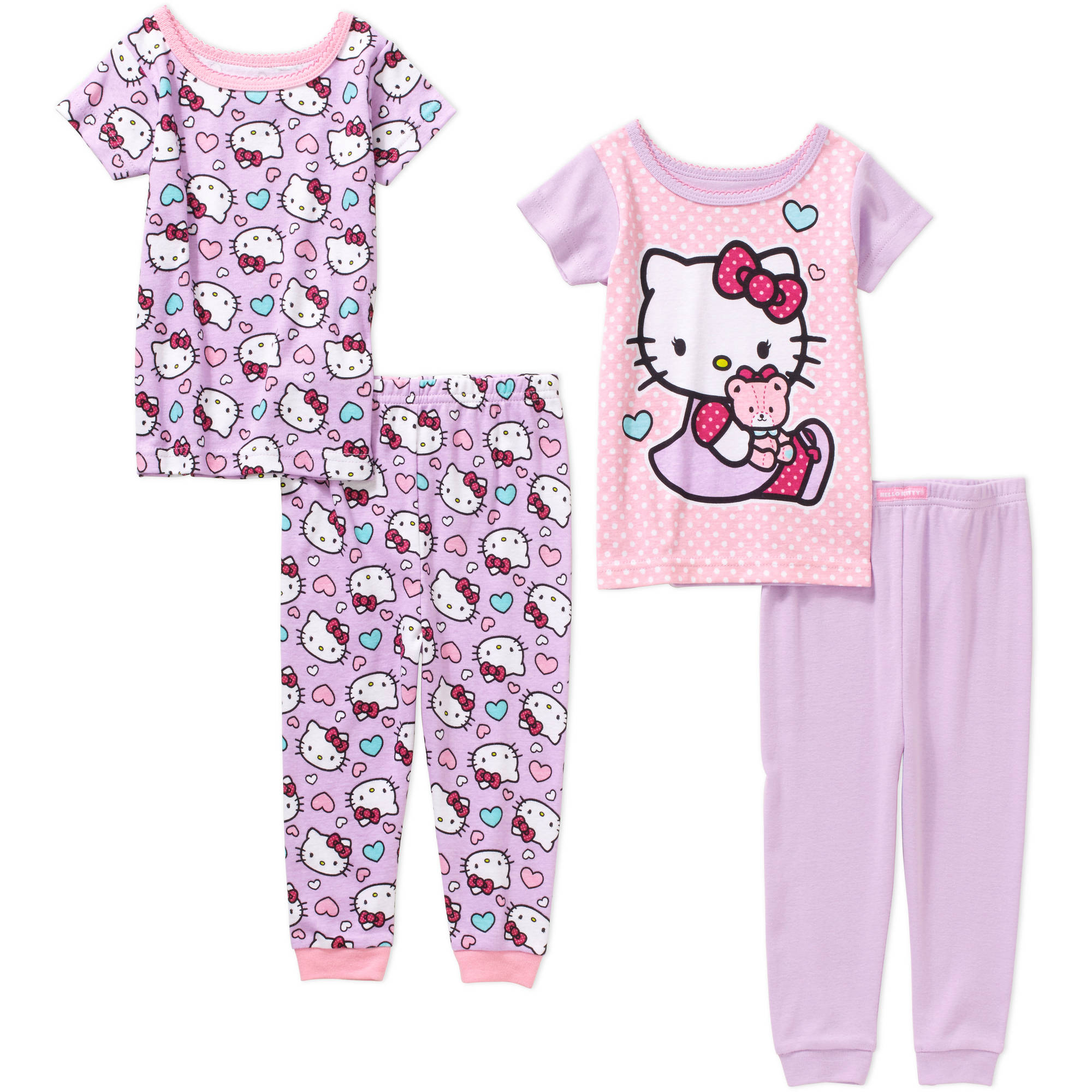 Hello Kitty Baby Infant Girl Cotton Tight Fit Short Sleeve Pajamas, 4-Pieces