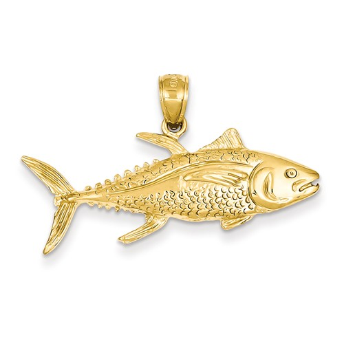 14k Yellow Gold Yellowfin Tuna Fish Pendant