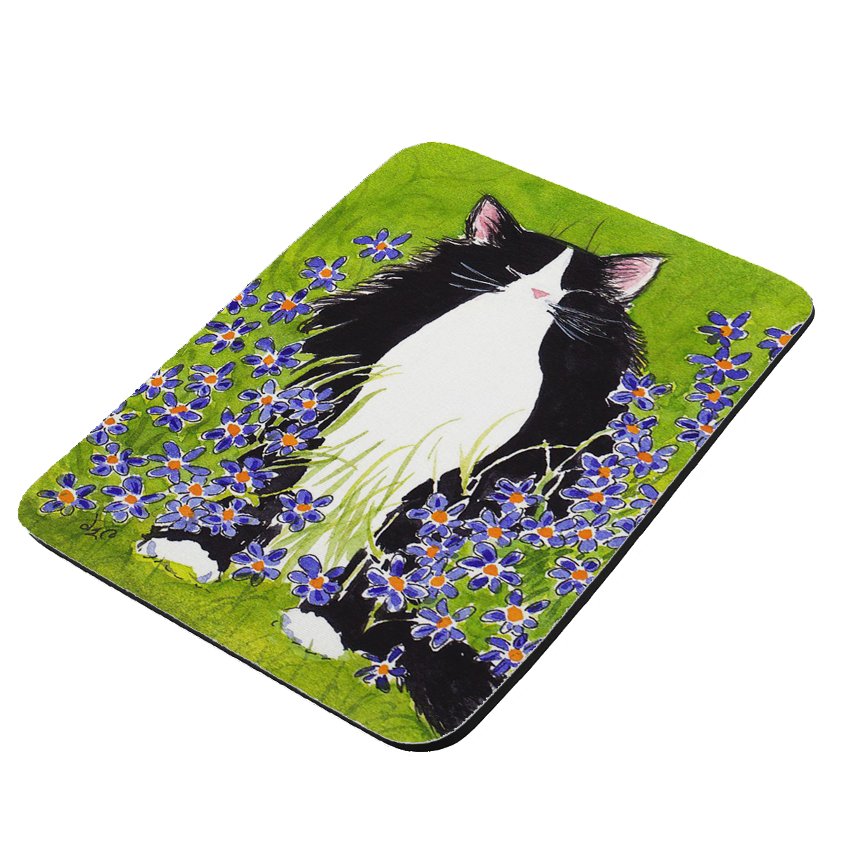 Tuxedo Maine Coon Cat with Blue-Eyed Grass Art by Denise Every - KuzmarK Mousepad / Hot Pad / Trivet