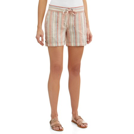 Women's Soft Linen Stripe Shorts