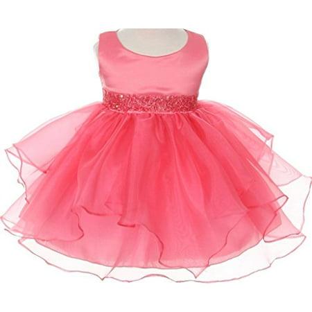 Sequin Embellished Dress - Infant & Baby Flower Girl Dress with Sequin Embellished Waistline Coral L B111