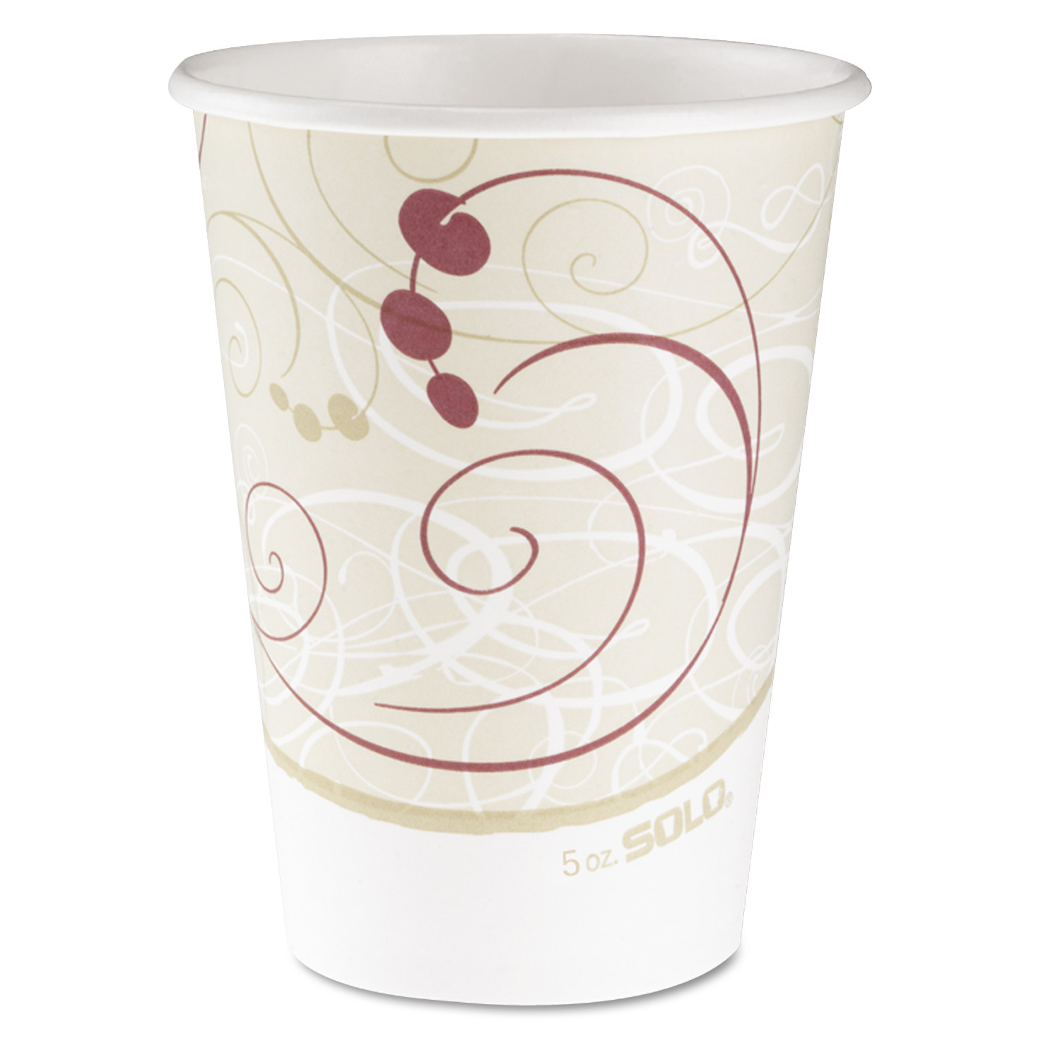 SOLO Cup Company Hot Cups, Symphony Design, 12oz, Beige, 1000/Carton