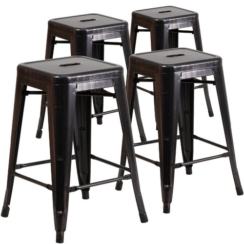 Flash Furniture 4pk 24'' High Backless Black-Antique Gold Metal Indoor-Outdoor Counter Height Stool with Square Seat