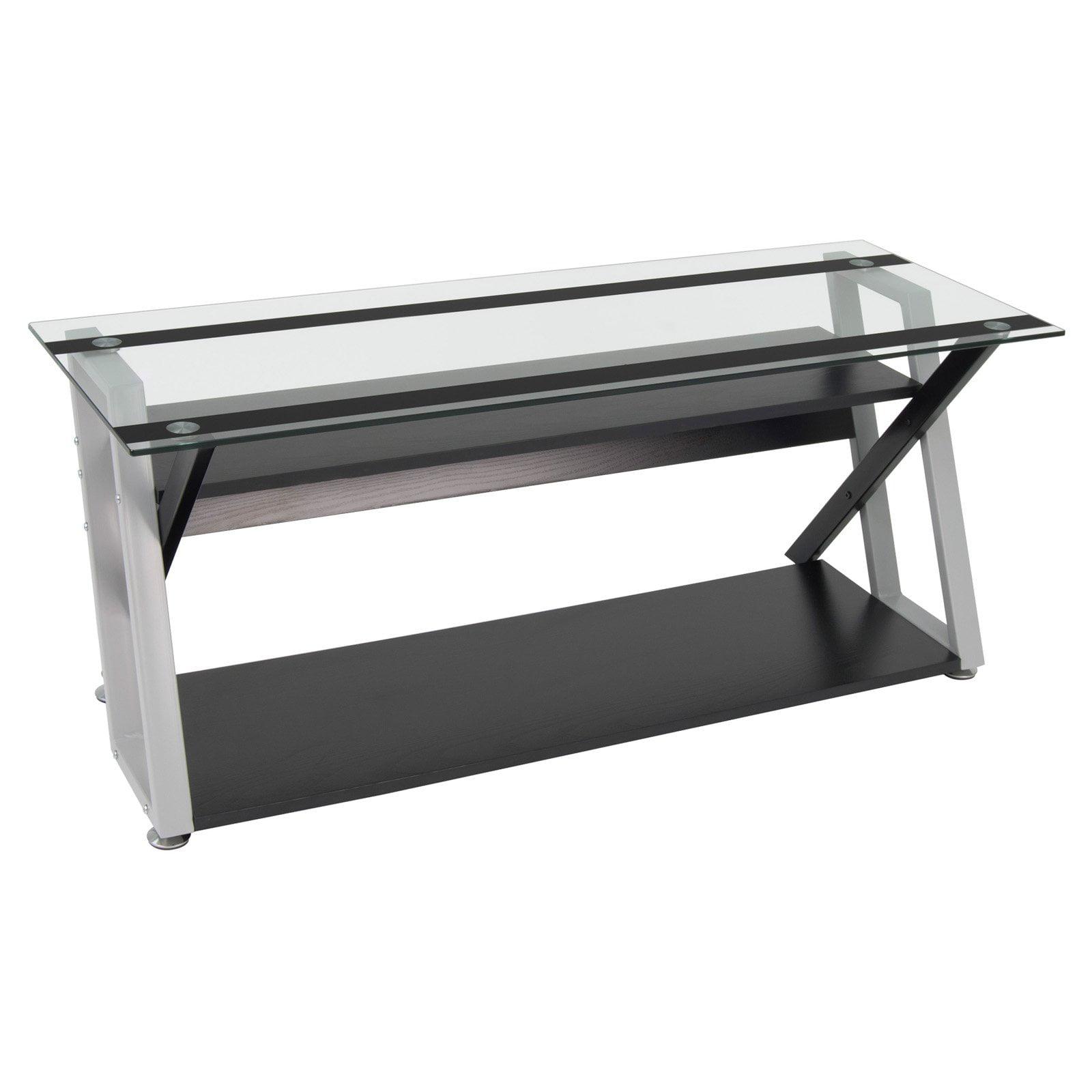 Calico Designs Colorado 56 Tv Stand Black Silver Clear Glass