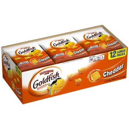 Pepperidge Farm Goldfish Cheddar Crackers, 12 oz. Multi-pack Tray, 12-count 1 oz. Single-Serve Snack Packs Low Carb Cheese Crackers