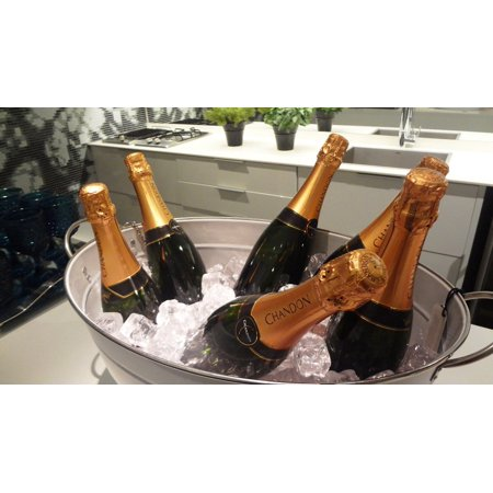 Peel-n-Stick Poster of Party Drinks Champagne Ice Bucket Bottles Ice Poster 24x16 Adhesive Sticker Poster Print - Halloween Drinks Dry Ice Alcoholic