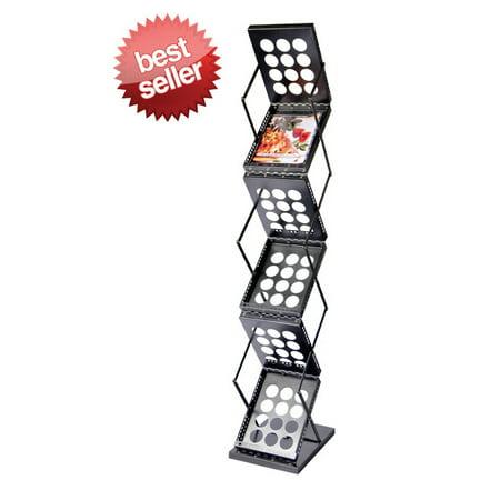 Signworld Pop-up Floor Standing Literature / Brochure / Magazine Display Black Rack, Six Pockets for Magazines/Literature/Brochures (Trade Show, Show Room, Show