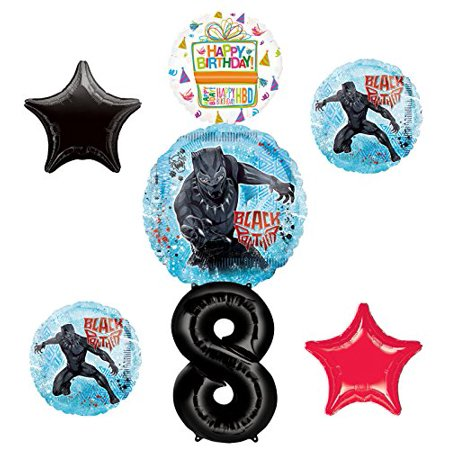 Black Panther Party Supplies 8th Birthday Balloon Bouquet Decorations - Red And Black 50th Birthday Decorations