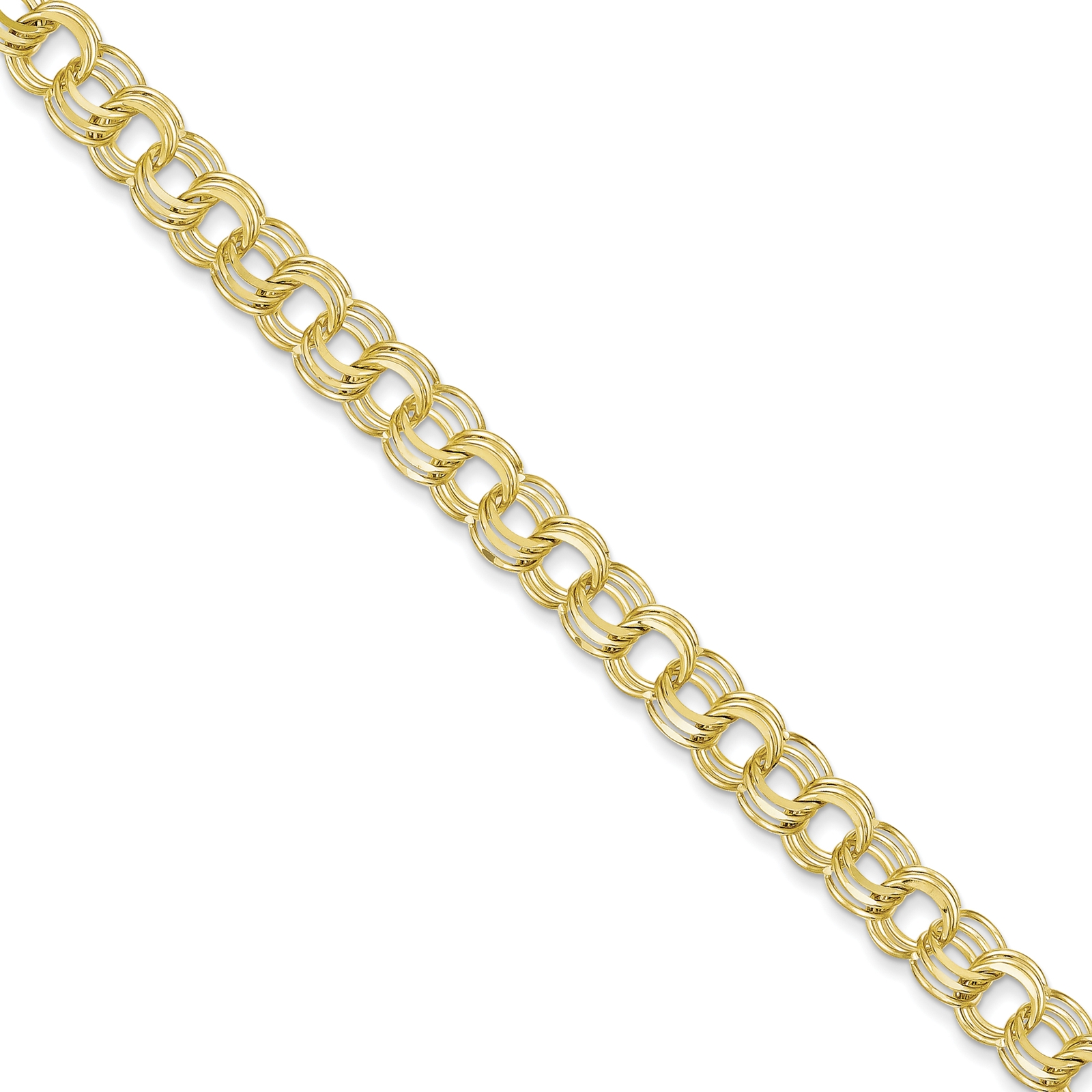 "10k Yellow Gold Polished & Solid 7mm Triple Link Charm Bracelet 7"""