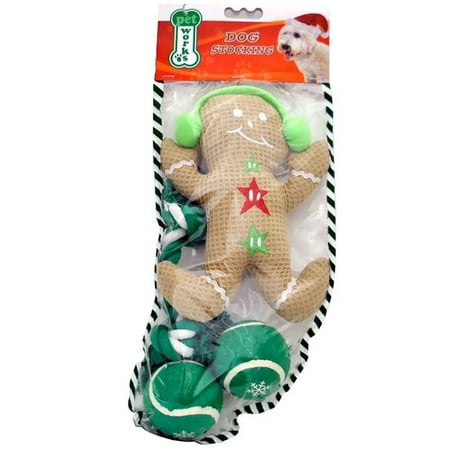 Pet Works Holiday Stocking Set Gingerbread Man 4 pack