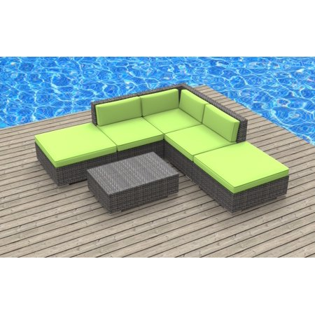 Urban Furnishing - BALI 6pc Modern Outdoor Wicker Patio Furniture Modular Sofa Sectional Set, Fully Assembled - Lime Green ()